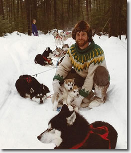 Daniel Tremblay with his team of sled dogs
